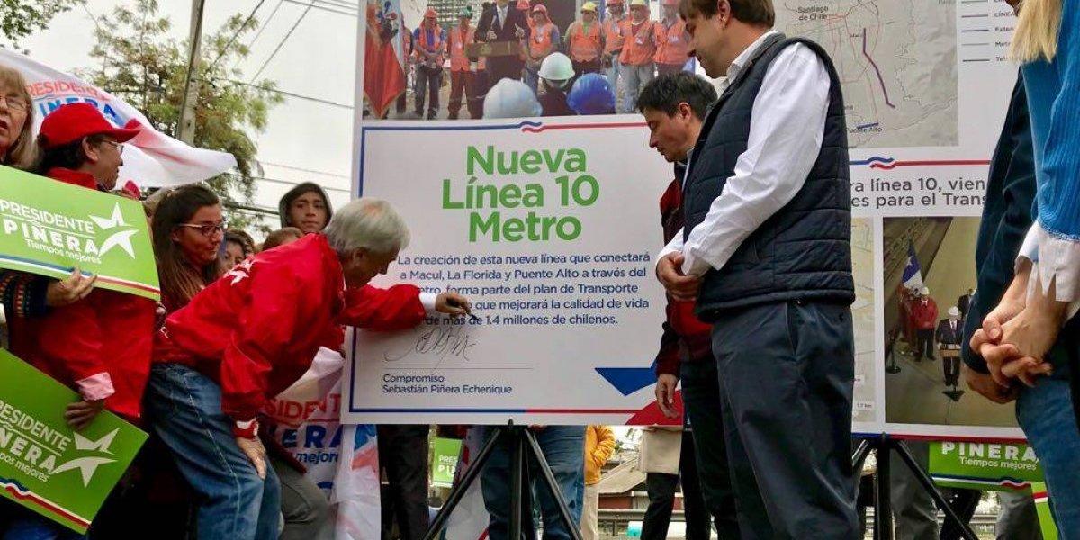 Construcción de Línea 10 del Metro y extensión a La Pintana ofreció Piñera desde La Florida