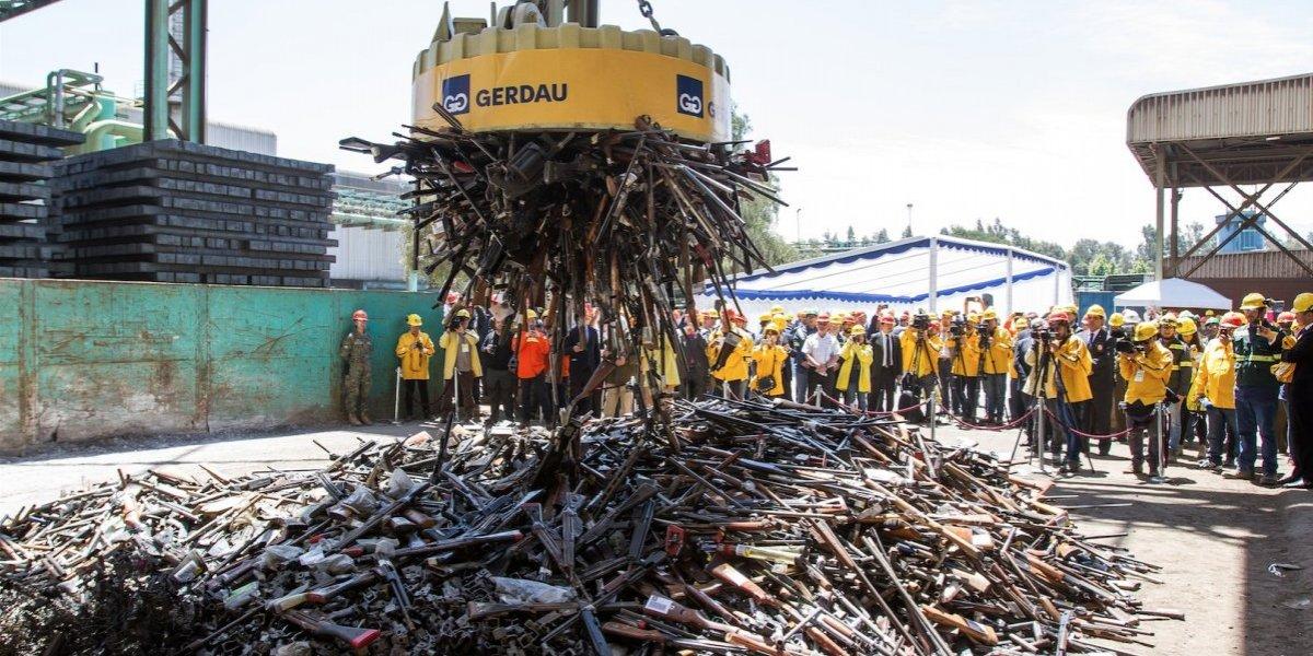 Más de 8500 armas de fuego fueron destruidas esta mañana