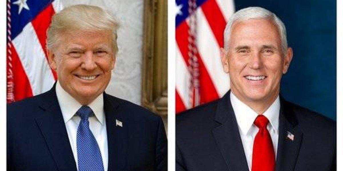 Develan retrato oficial de Trump y Pence