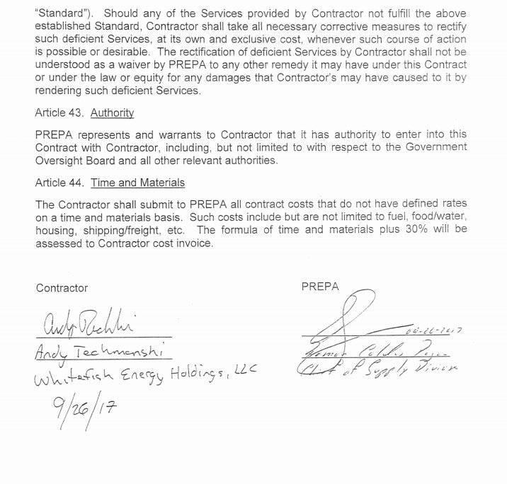 Firma de Ramón Caldas en el primer contrato entre AEE y Whitefish Energy