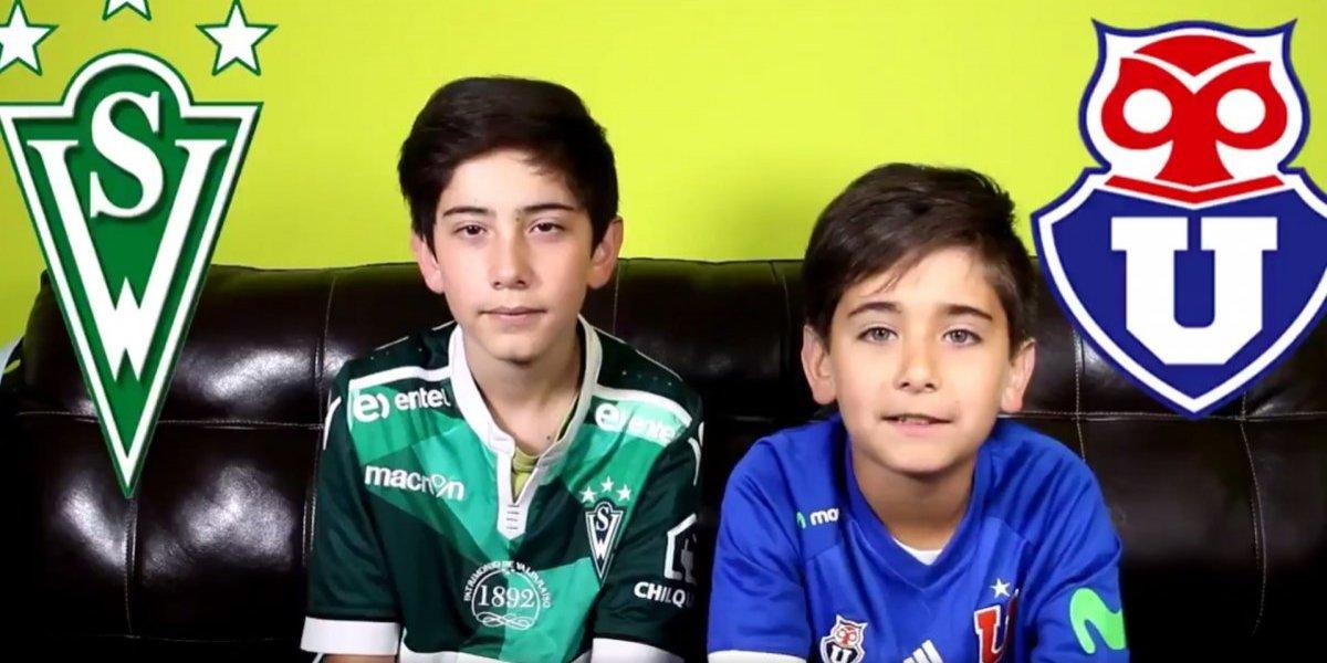 """""""Que la violencia no manche tu pasión"""": El mensaje de dos niños en la previa del partido entre Wanderers y la U"""