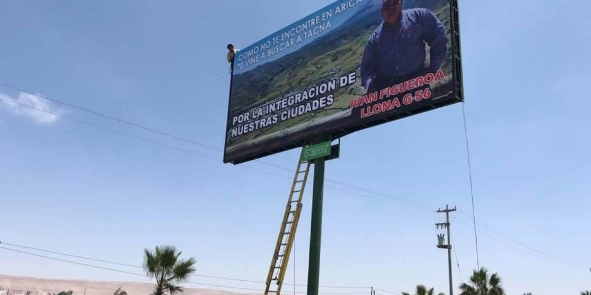 Instaló un cartel gigante en Tacna: la inusual campaña de candidato a diputado por Arica que llamó la atención en Perú