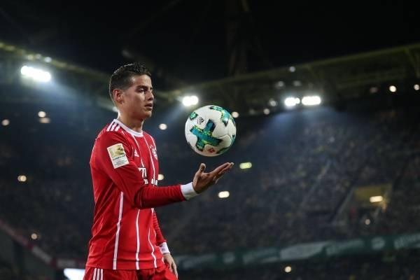 James Rodríguez en el partido Borussia Dortmund VS Bayern München