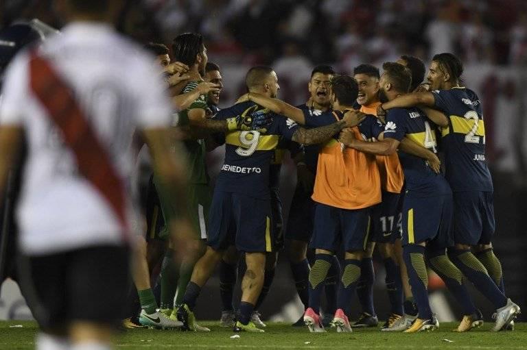 Boca celebró en el Monumental / imagen: AFP