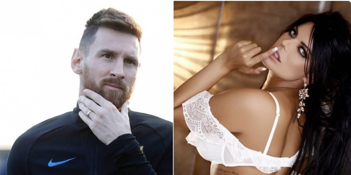 Modelo brasileña celebra con candente foto los 600 partidos de Messi