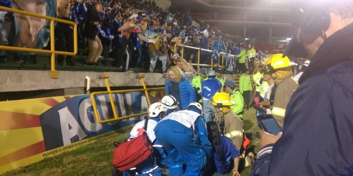 Se cayó una baranda de la tribuna de La Independencia en Patriotas vs Millonarios