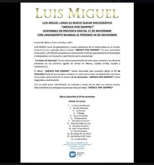 Comunicado Luis Miguel