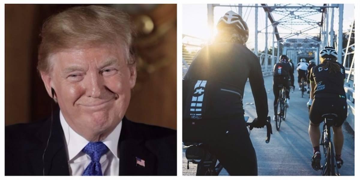 FOTO. Ciclista que hizo una seña obscena a Trump pierde su trabajo