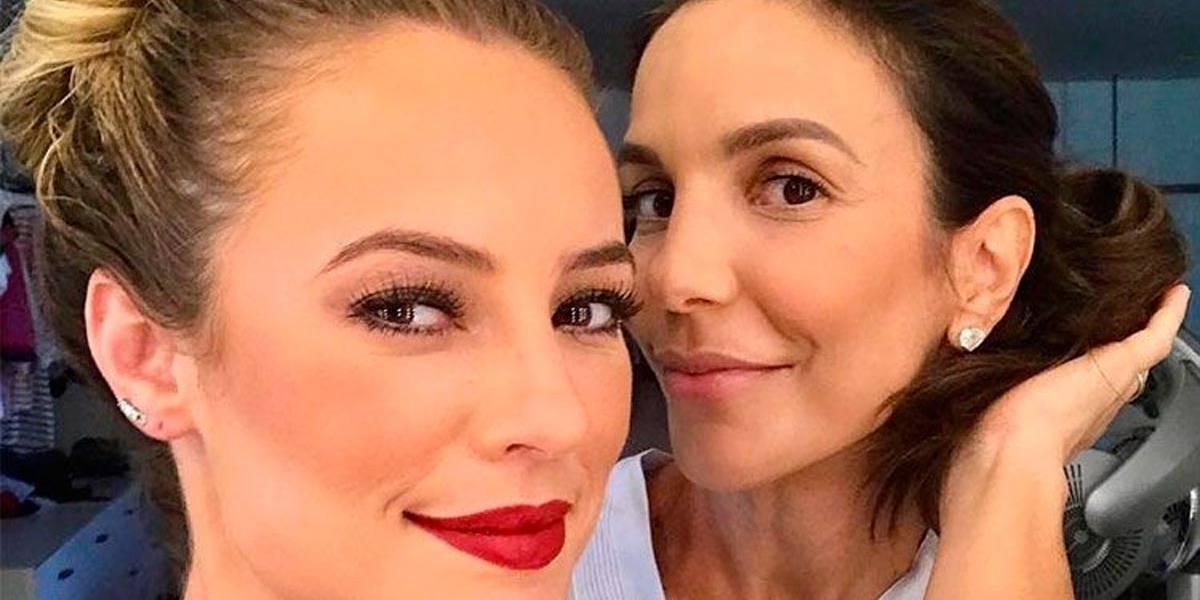 Ivete Sangalo faz maquiagem de Paola Oliveira