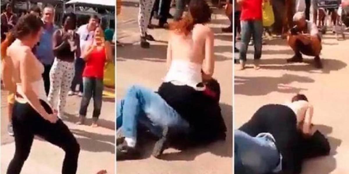 Mujer golpea a acosador en Brasil