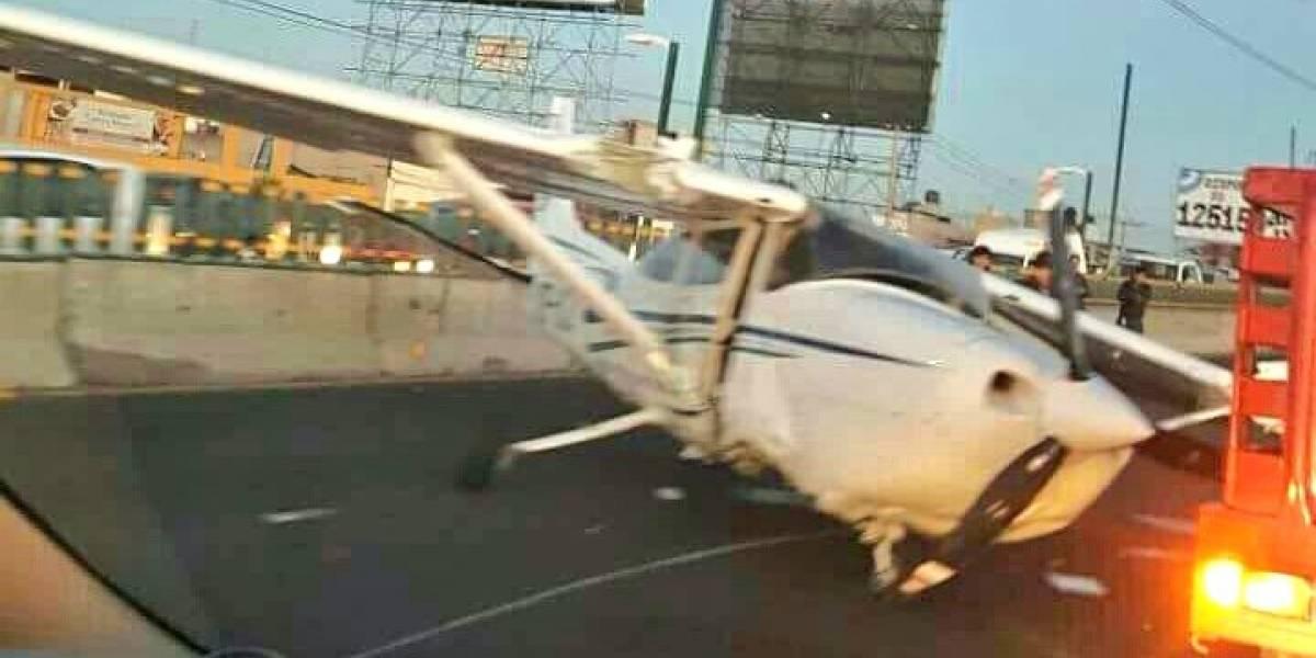 Avioneta aterriza de emergencia sobre boulevard de Toluca