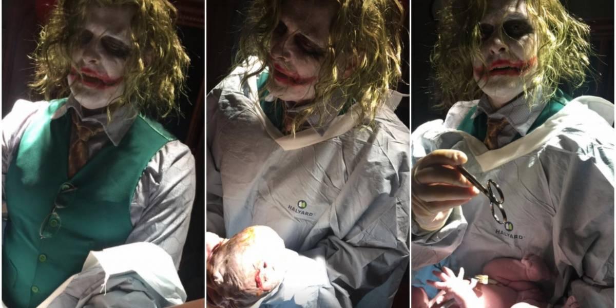 Firmó como el Dr. Joker: llegó de urgencia para dar a luz y así recibieron a su hijo en la noche de Halloween