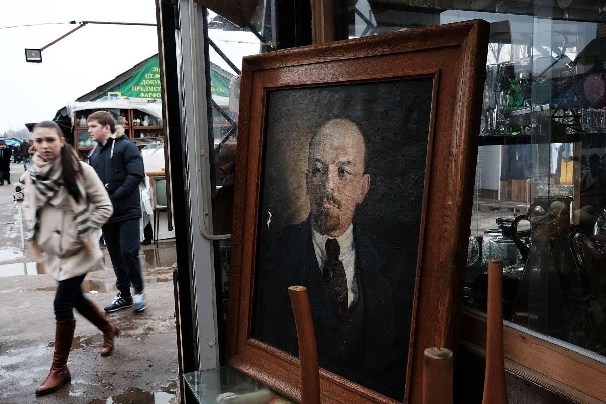 Vladimir Lenin, en un cuadro en Rusia.