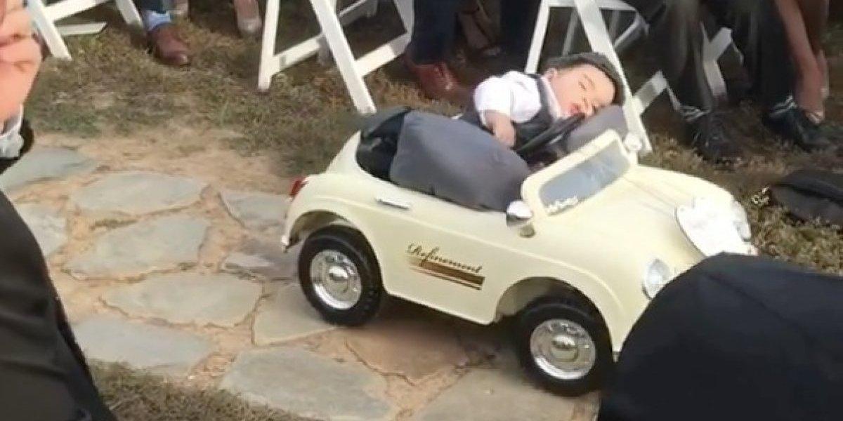 """""""Tan divertido y tan tierno"""": bebé debía llevar los anillos al altar pero se durmió al volante"""