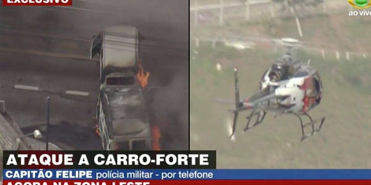 Criminosos incendeiam veículos e atacam carro-forte na zona leste