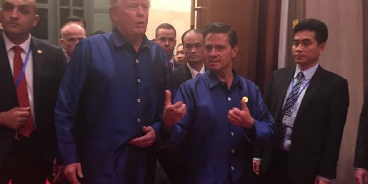 Donald Trump y Enrique Peña Nieto llegan juntos a cena de la APEC