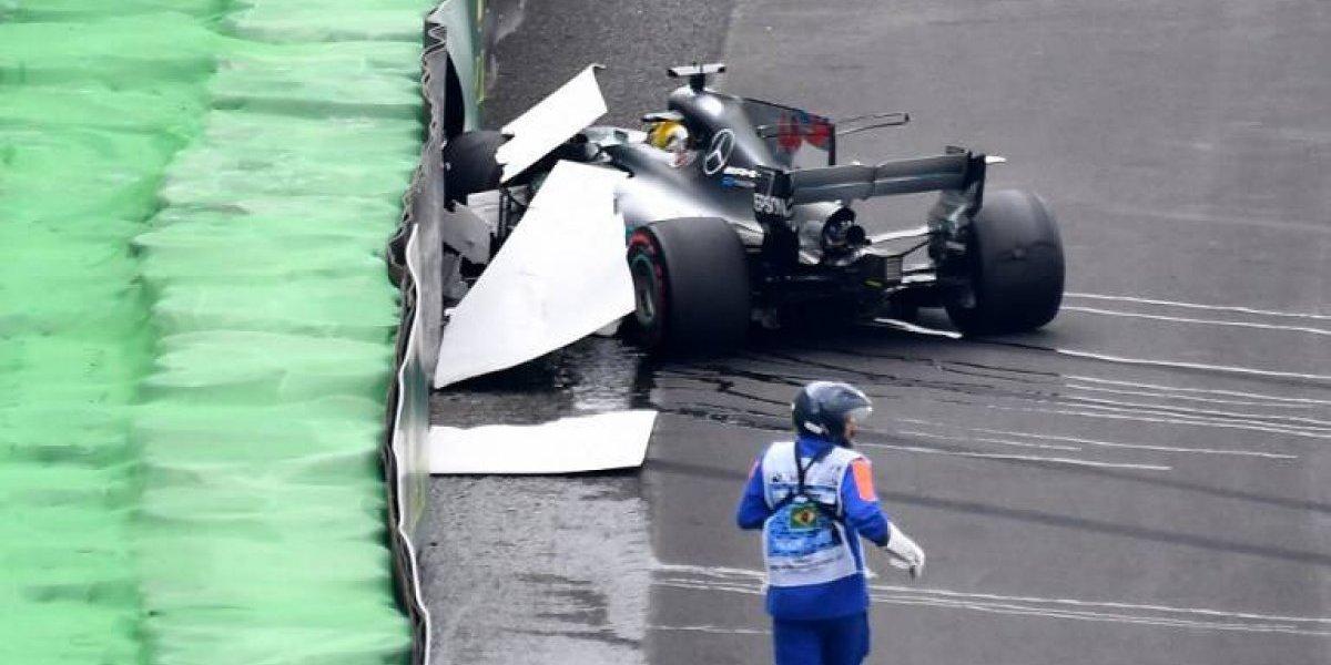 El campeón Hamilton chocó en la qualy y partirá último en el GP de Brasil