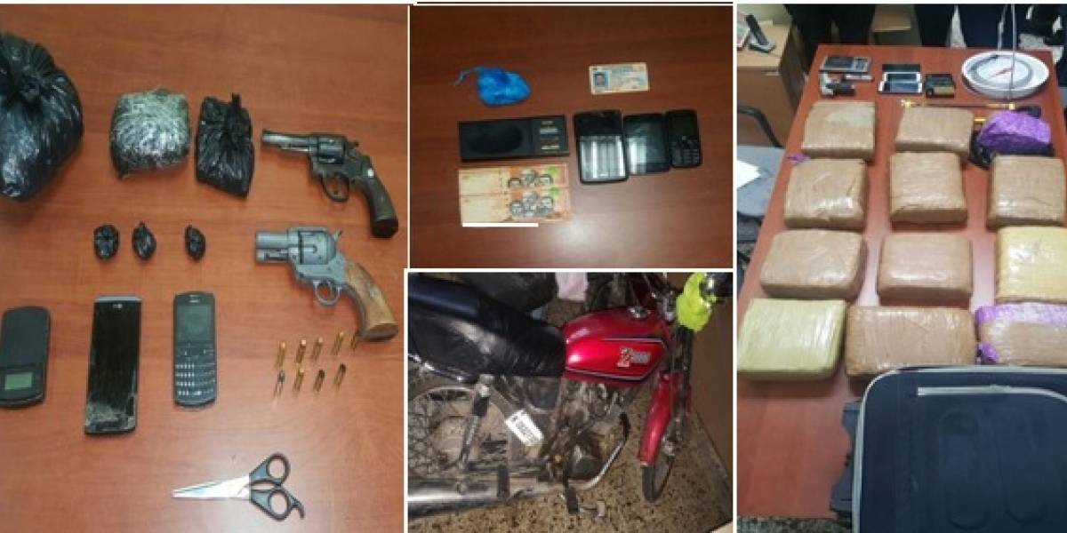 PN apresa tres personas e incauta drogas, armas, otros artículos y dinero