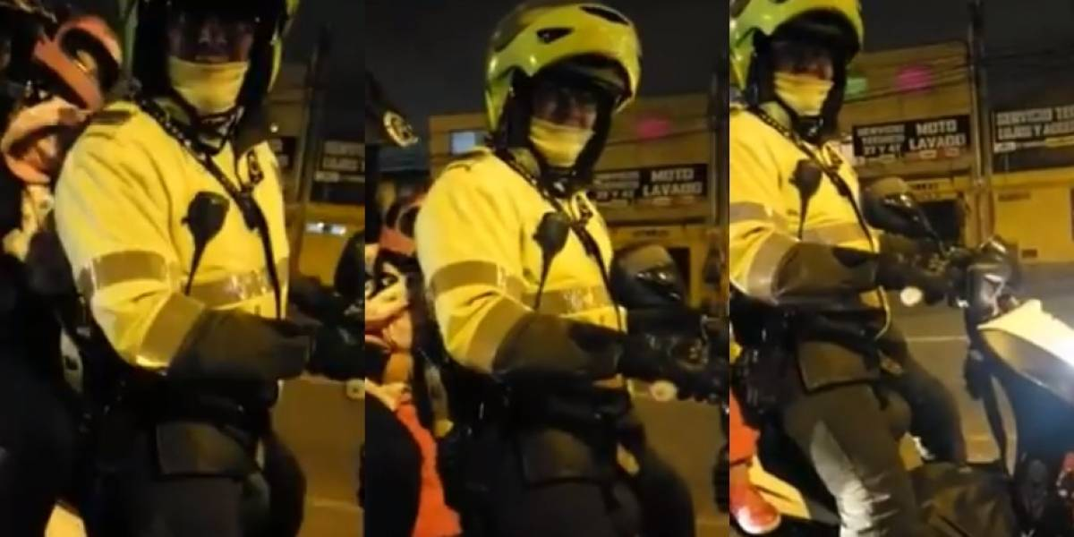 Video: la descarada respuesta de un policía que manejaba con sobrecupo