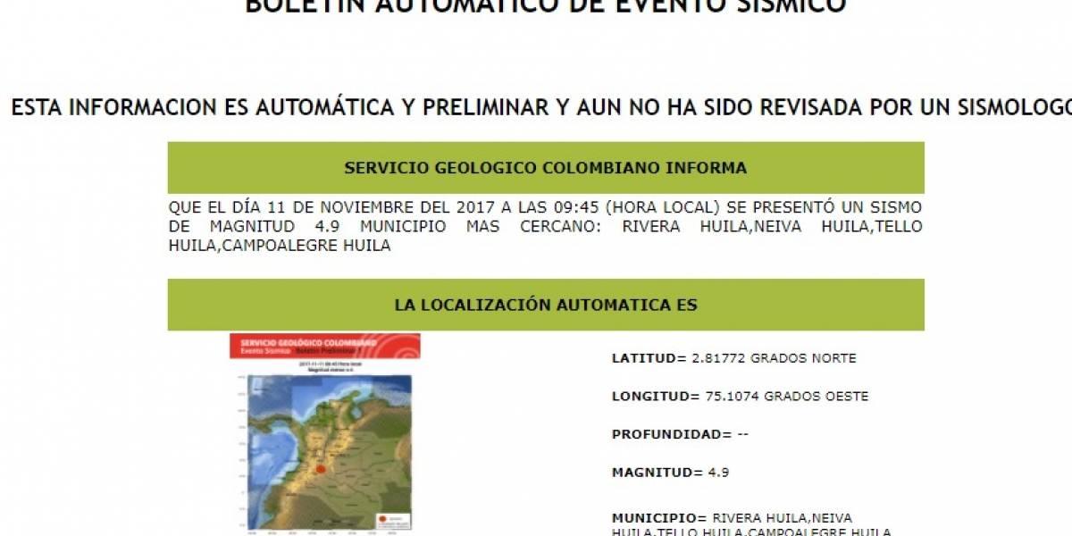 ¡Atención! Temblor en Colombia de magnitud 4.6 se sintió este sábado