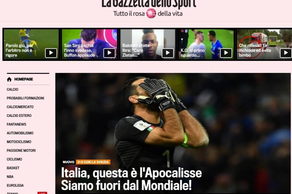 Gazzetta dello Sport (Itália): Itália, este é o apocalipse. Estamos fora do Mundial Reprodução