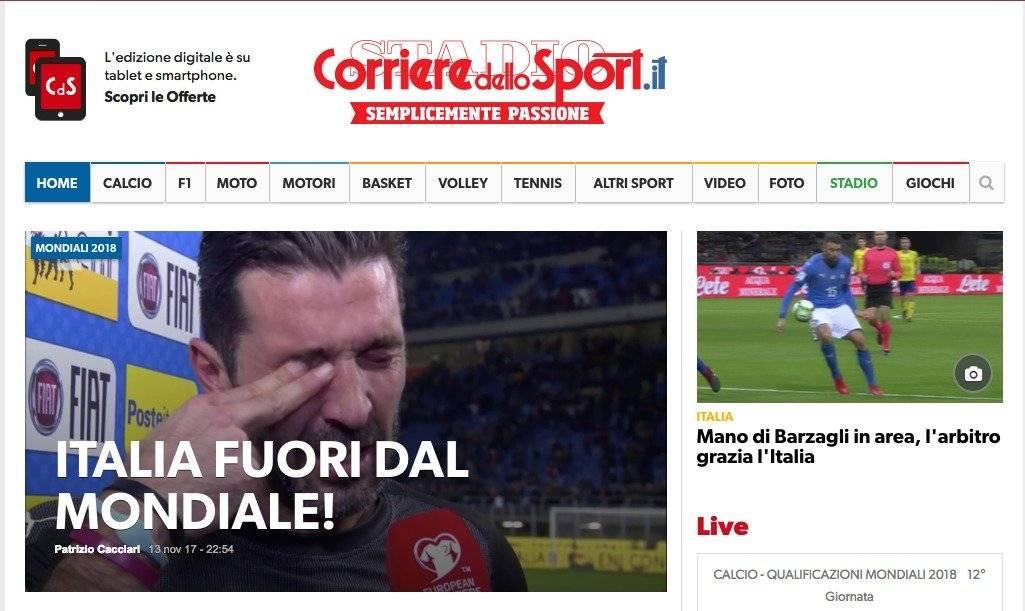 Corriere dello Sport (Itália): Fora do Mundial Reprodução