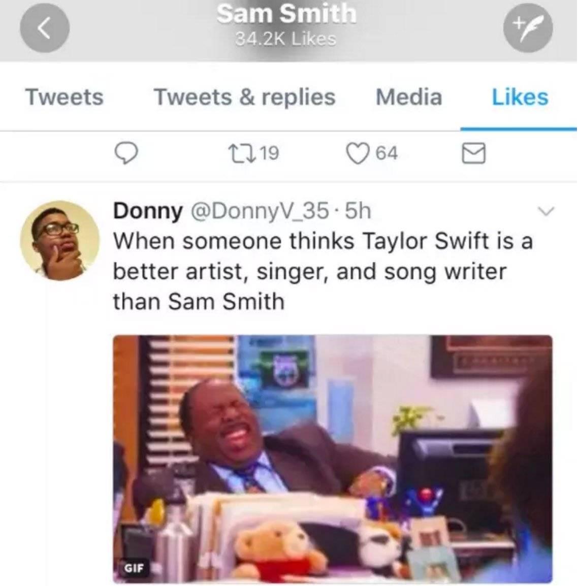 Sam Smith curte comentário tirando sarro de Taylor Swift