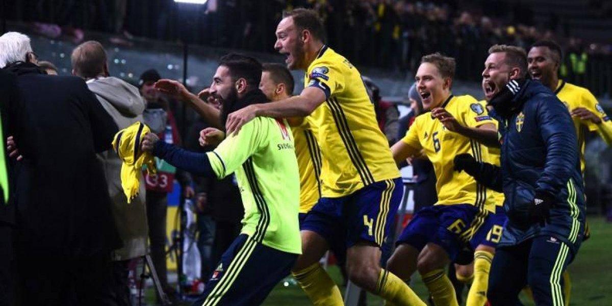 La alocada celebración de Suecia tras eliminar a Italia del Mundial
