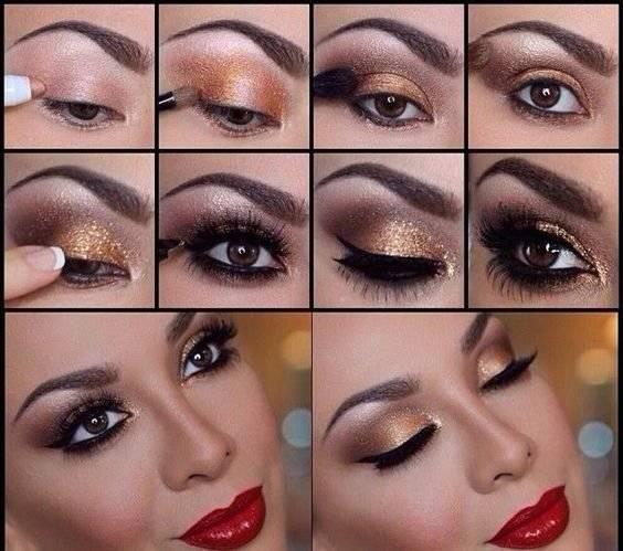 Maquillaje para un vestido rojo largo de fiesta