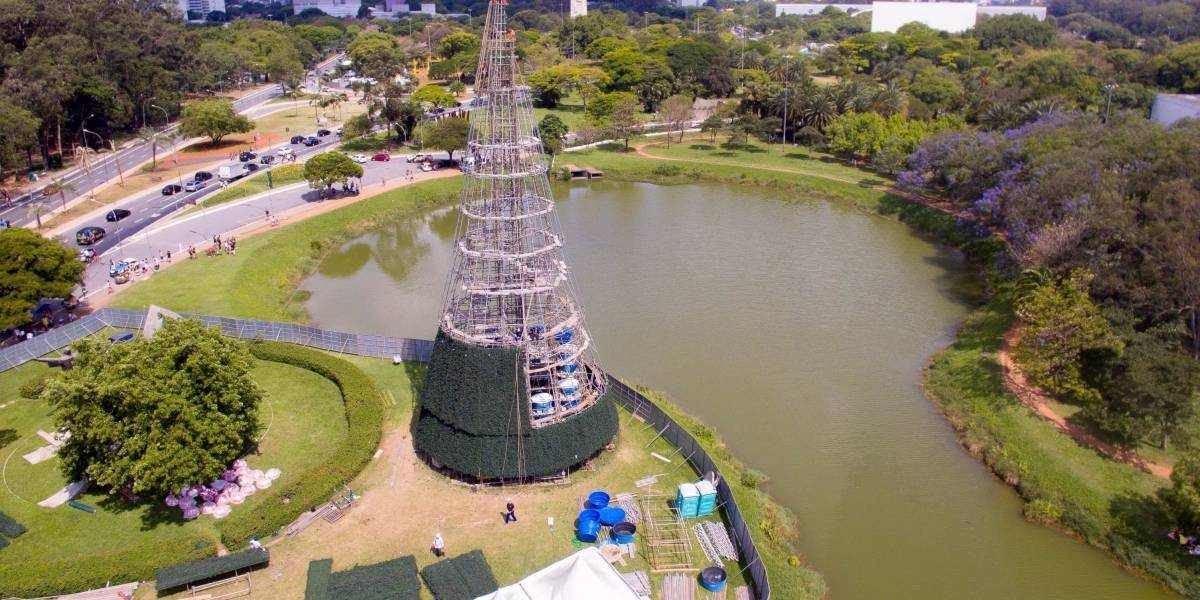 Em novo local, árvore de Natal do Ibirapuera já começa a ganhar forma dentro do parque