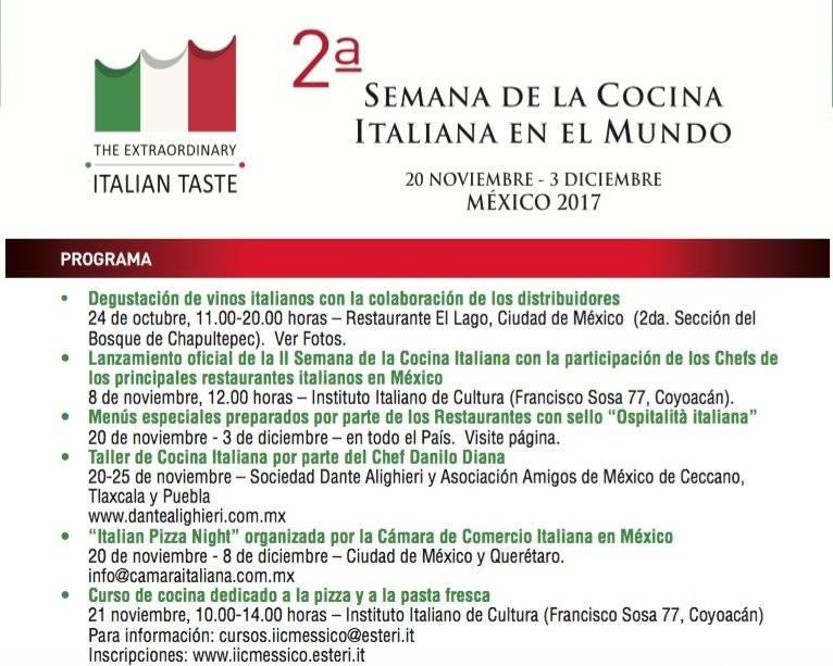 Cartel Semana Cocina Italiana