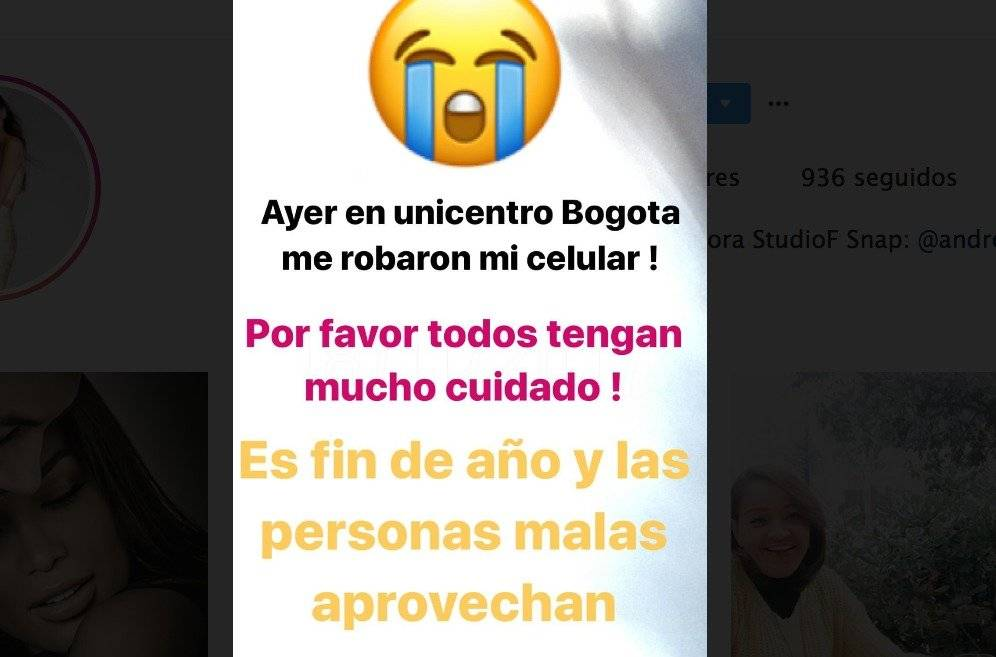 Captura de pantalla Instagram Andrea Tovar