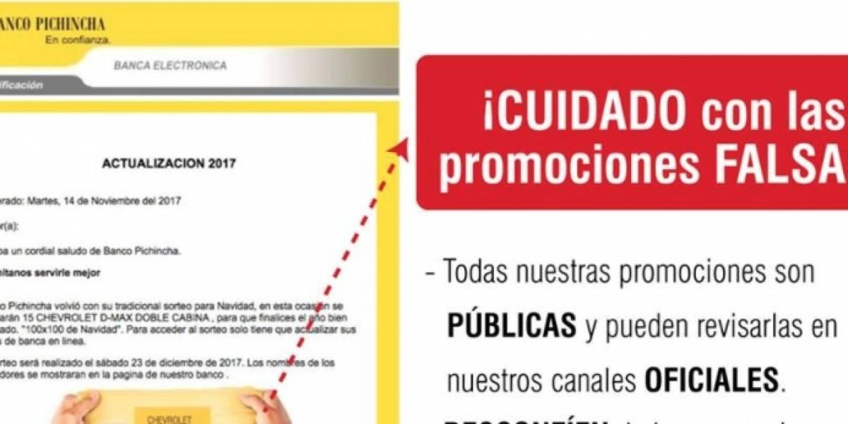Banco Pichincha alerta sobre promoción falsa que circula en redes