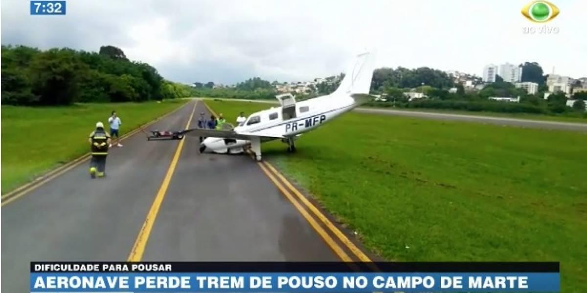 Aeronave perde trem de pouso durante aterrissagem