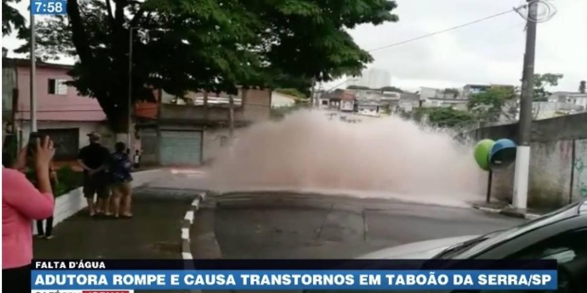 Adutora rompe e causa transtornos na Grande São Paulo