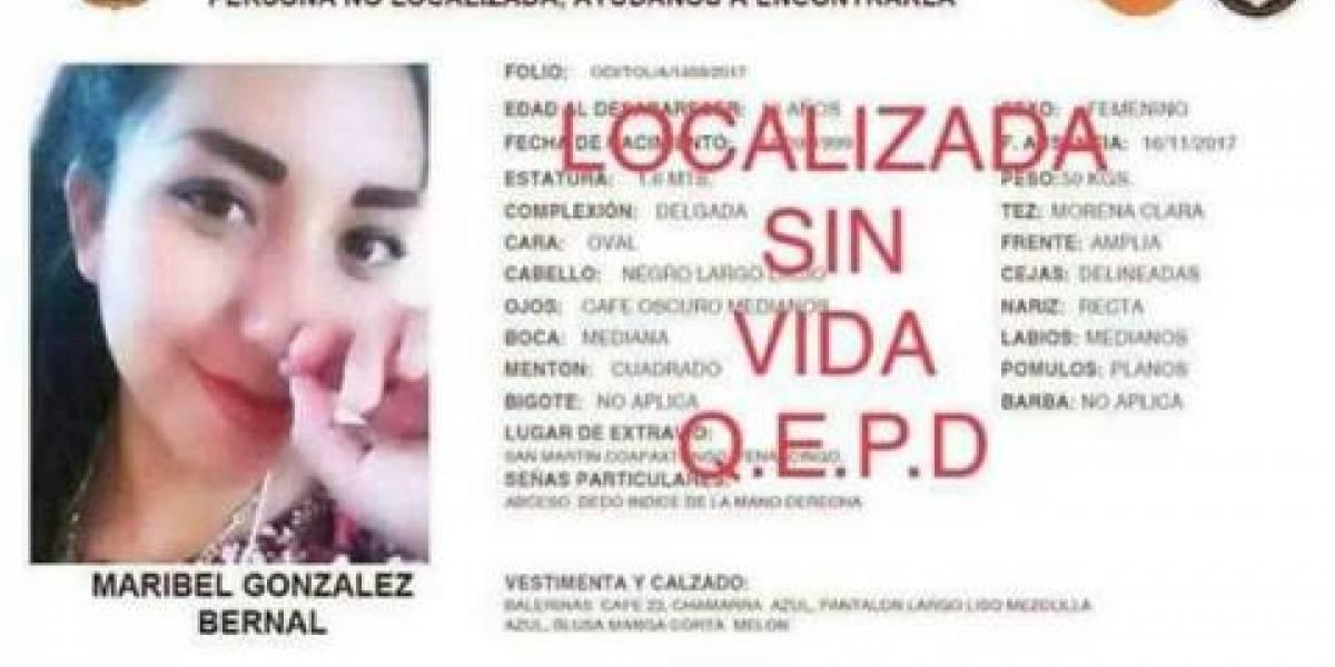 Hallan muerta a Maribel, estudiante de la UAEM desaparecida