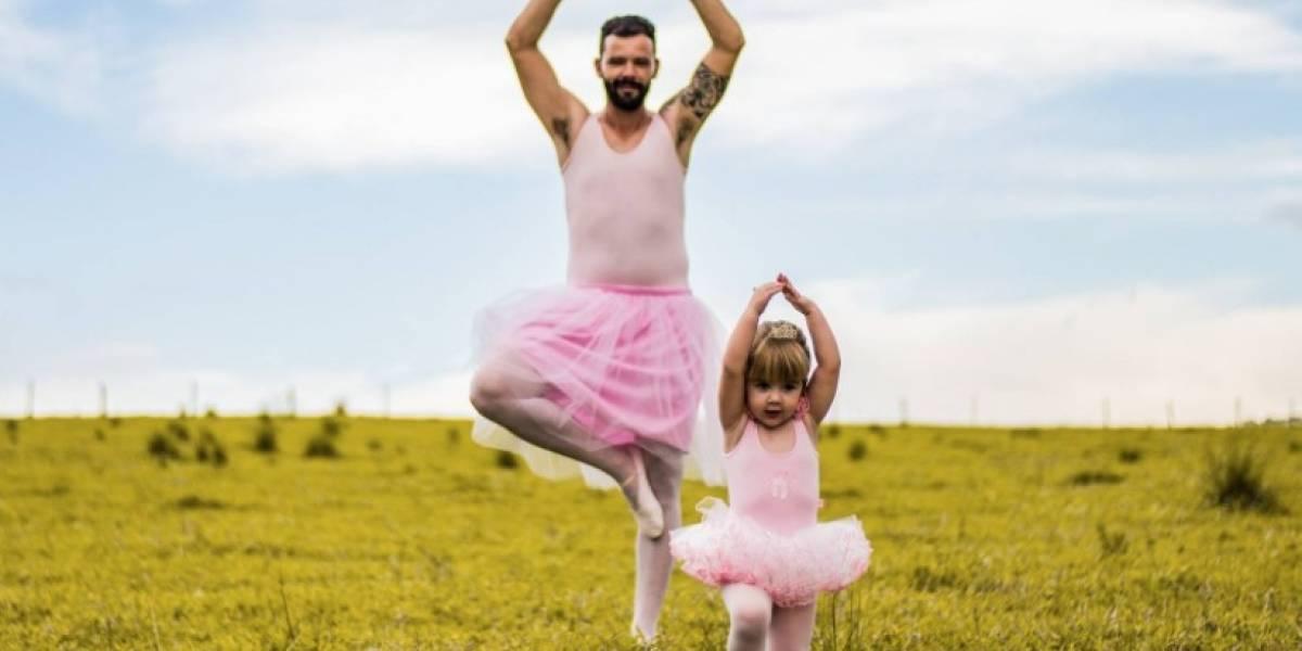 """""""Lo haría todo por ella"""": padre se vistió de bailarina para """"celebrar"""" el cumpleaños temático de su pequeña hija"""