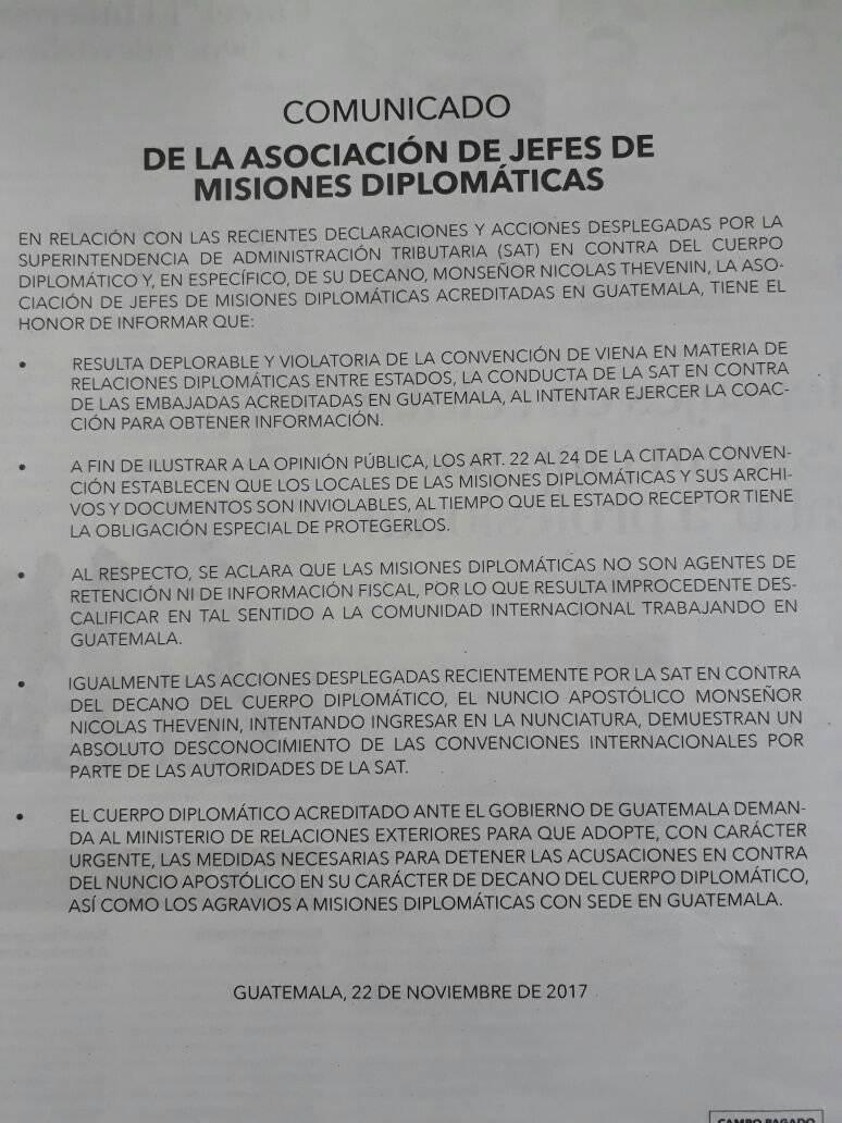 Comunicado de la Asociación de Jefes de Misiones Diplomáticas
