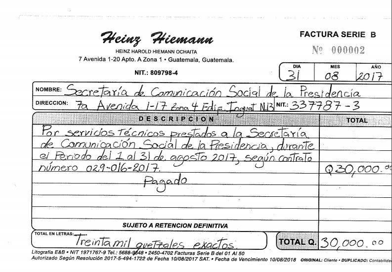 Factura de Heinz Hiemann por servicios en Secretaría de Comunicación