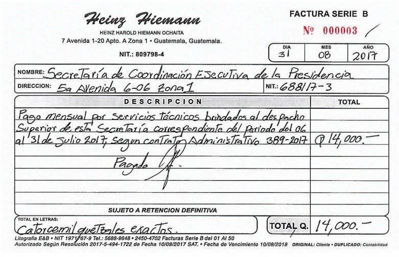 Factura de Heinz Hiemann por servicios en Secretaría de Coordinación Ejecutiva