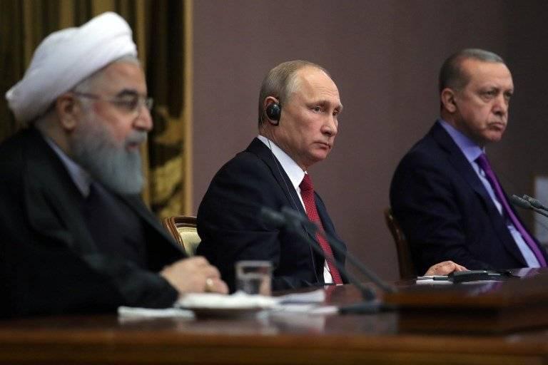 Hasan Rohani, Vladimir Putin y Recep Tayyip Erdogan