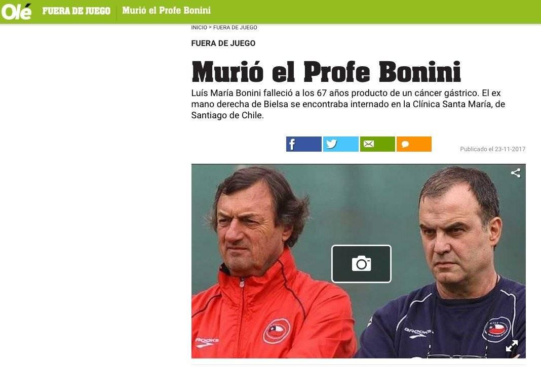 El profe Bonini fue querido en todos los países donde trabajó.