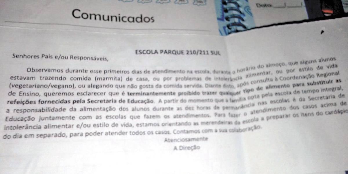 Escola de Brasília proíbe alunos de levar lanche