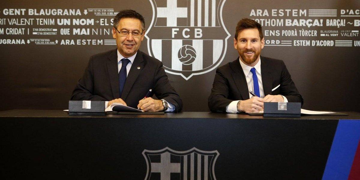 Lionel Messi renueva con el Barcelona hasta 2021
