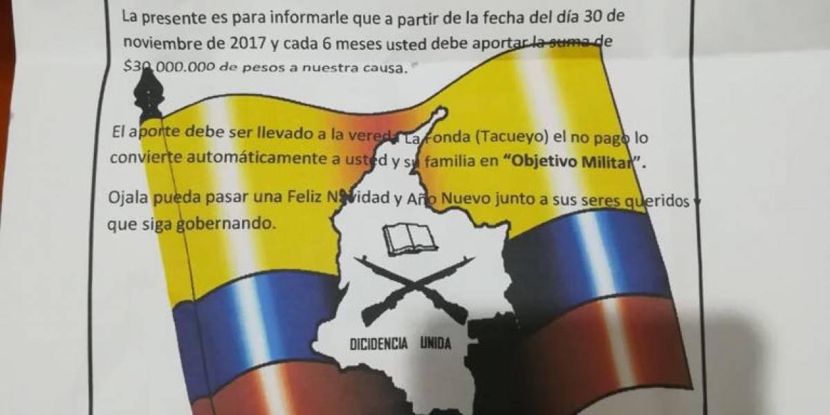 Alcalde denuncia amenazas por medio de panfletos en Cauca
