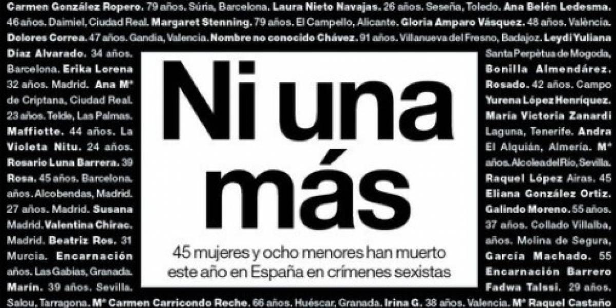 """""""Ni una más"""": la alabada portada de medio español por el día contra la violencia de género"""