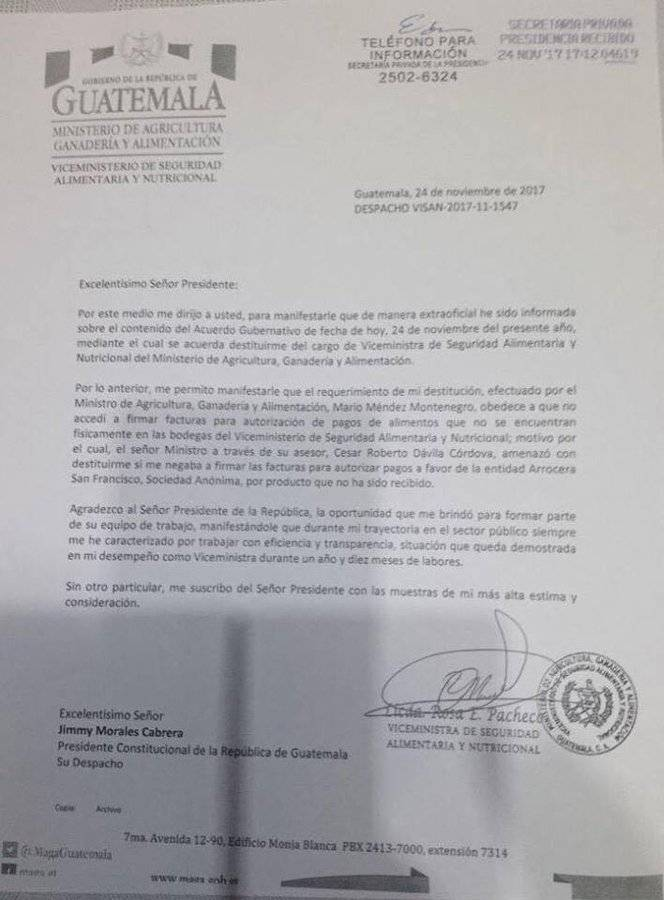 Carta de exviceministra Pacheco Mangandi