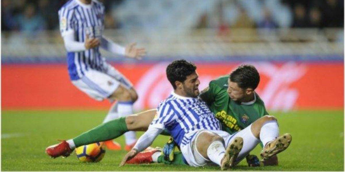 Vela jugó con la Real Sociedad en el empate ante Las Palmas