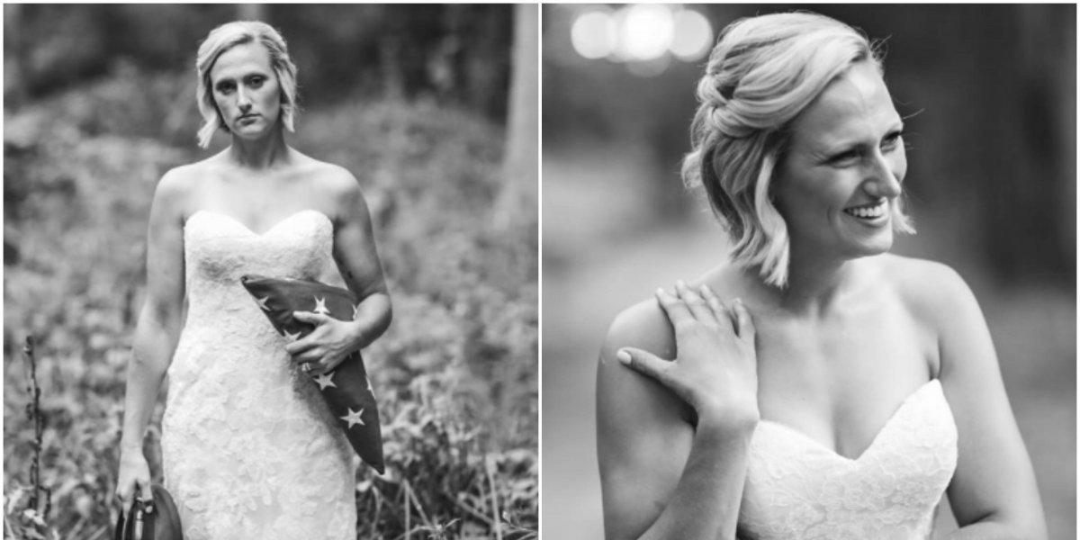 """""""Esta pérdida no me destruirá"""": se puso el vestido de novia y se tomó fotos el día de su boda sin su prometido que había sido asesinado"""