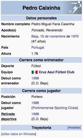Wikipedia coloca a Caixinha como técnico de Cruz Azul